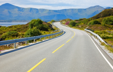 empty street: Scenic Atlantic Ocean Road in Norway Stock Photo