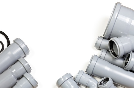 fitting: Grey PVC sewer pipes on white background Stock Photo