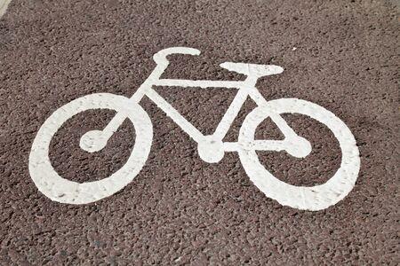 bicycle lane: Bike lane sign on a cycle track