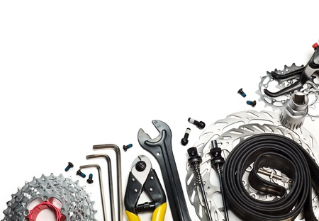 mountain bicycle: Mountain bike tools and spares on white background Stock Photo