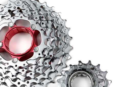 rack wheel: Mountain bike rear cassette on white background Stock Photo