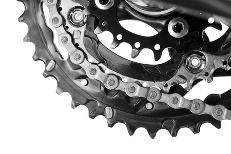 Mountain bike crankset with chain close-up photo