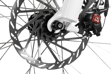 Mountain bike front wheel with mechanical disc brake on white background Stock Photo - 11293879