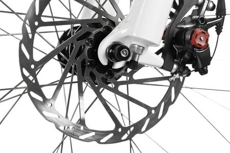 Mountain bike front wheel with mechanical disc brake on white background Stock Photo - 11293879