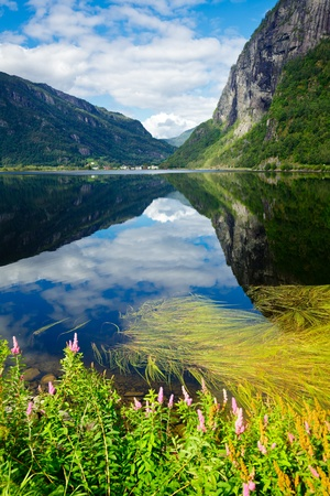 Scenic view of Granvinsvatnet lake in Granvin, Norway photo