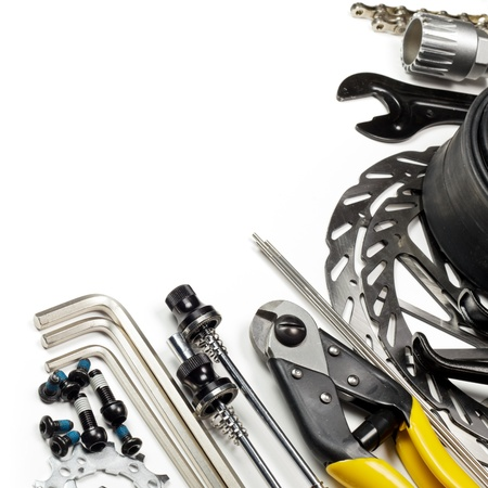 cable cutter: Mountain bike tools and spares on white background Stock Photo