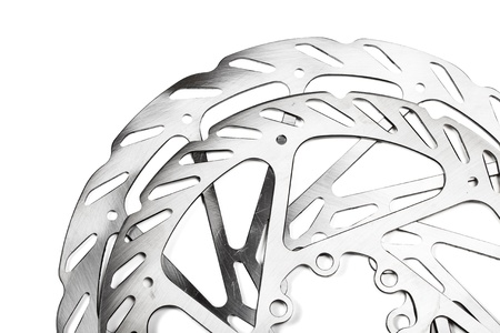 Mountain bike disk rotors on white background Stock Photo - 11293890