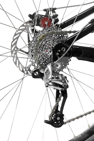 Mountain bike rear wheel detail on white background Stock Photo - 11293903