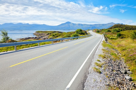 winding road: Scenic Atlantic Ocean Road in Norway Stock Photo