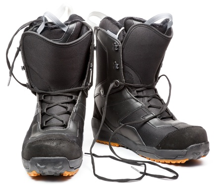 Snowboard boots on white background photo