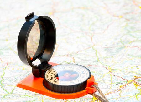 Navigation with compass and map concept Stock Photo - 12761161