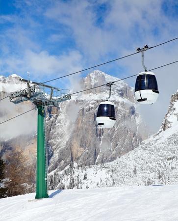 fassa: Monocable gondola lift at Val Di Fassa ski resort in Italy