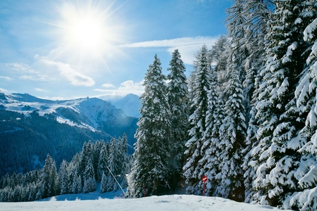 Sunny day at Val Di Fassa ski resort in Italy Stock Photo - 12761191