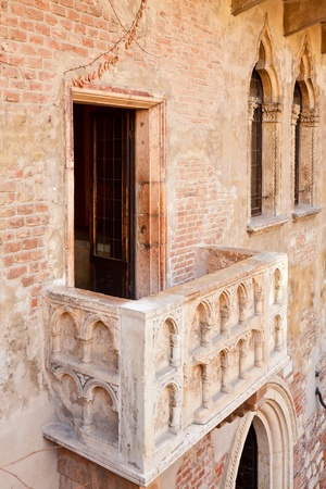 romeo and juliet: Famous tourist attraction Juliets purported balcony in  Verona, Italy