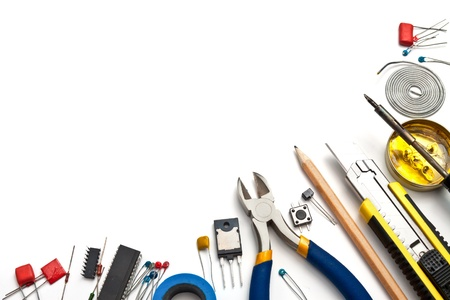 electrician tools: Set of electronic tools and components on white background