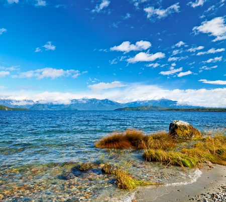 fiordland: Windy day on Lake Manapouri in the South Island of New Zealand