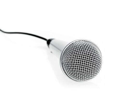 Silver microphone on white background photo