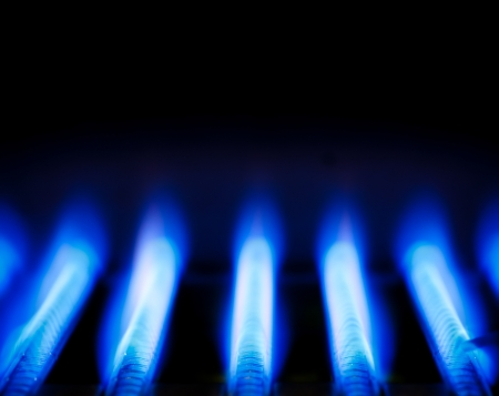 Blue flames of a gas burner inside of a boiler Stock Photo - 13468551