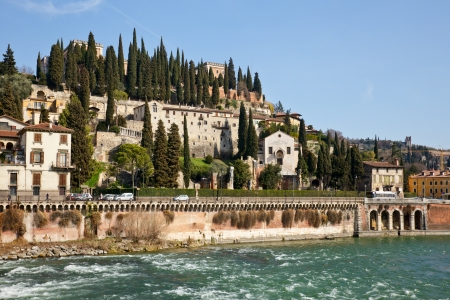 View of San Pietro Castle in Verona, Italy photo