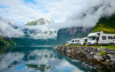 rv: RV camping by a fjord in Norway