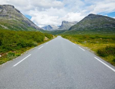 one lane: Scenic one lane asphalt road in Norway
