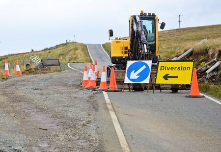 asphalt paving: Ramp reconstruction on a road at Scotland