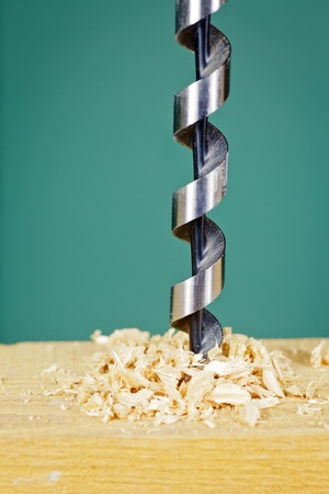 Wood drill bit with shaving photo