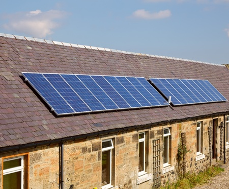 solar panel roof: A roof mounted photovoltaic panel system