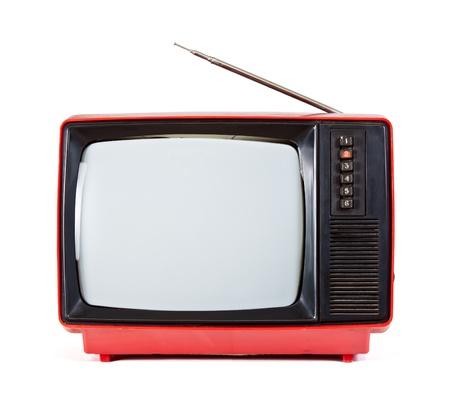 Vintage red Fernseher isoliert auf weißem Hintergrund Lizenzfreie Bilder