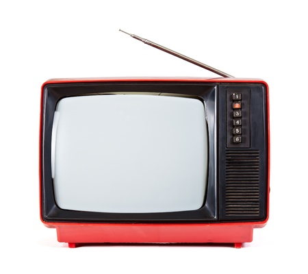 Vintage red Television set isolated on white background Stock Photo