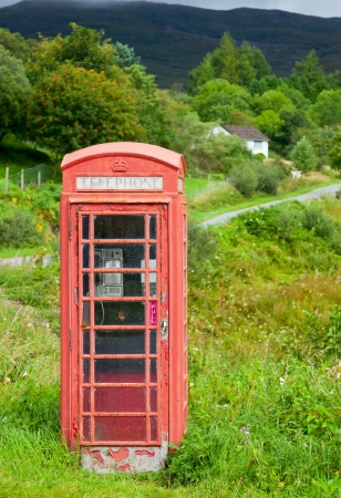 phonebox: Old weathered red telephone kiosk in Scotland