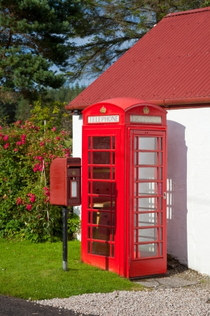 Iconic Red Lamp Box post box and telephone kiosk in Scotland Stock Photo - 16567309