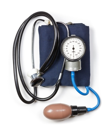 Manual aneroid sphygmomanometer with stethoscope on white background photo