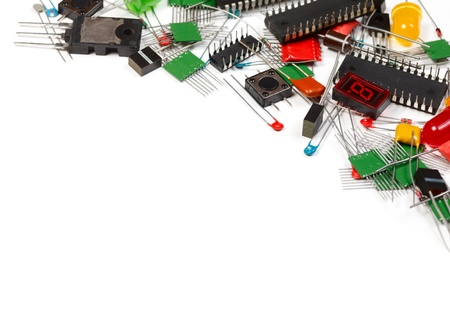 Electronic components  on white background photo