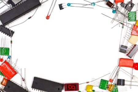 Frame made of electronic components photo