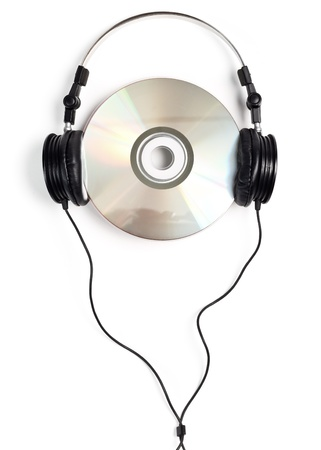 90s: Headphones with blank CD on white background Stock Photo