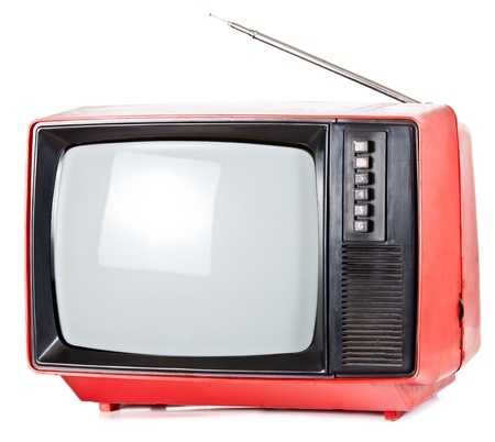 Vintage red Television set isolated on white background photo