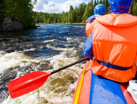 rafters: Rafters in a rafting boat on Pistojoki river in Karelia, Russia