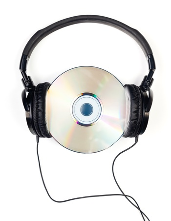 90s: Headphones with CD on white background