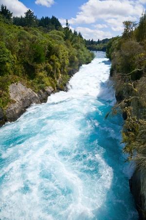Narrow canyon of Huka falls on the Waikato River, New Zealand