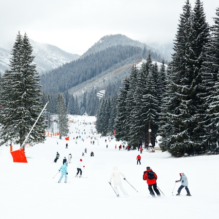 snowed: Skiers and snowboarders going down the slope at Jasna ski resort in Slovakia