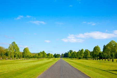 cielos abiertos: Straight carretera del parque en Inglaterra Foto de archivo