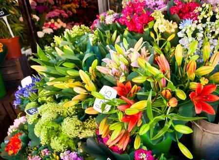 sidewalk sale: Flowers at street market in England