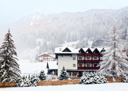fassa: Italian ski resort in a morning light