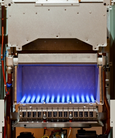 Gas flame inside of the gas boiler