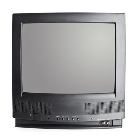 Vintage black Television set isolated on white background