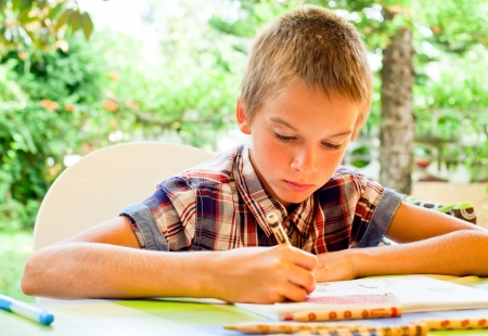 assiduous: Scoolboy sitting at table drawing