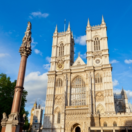 city of westminster: Western facade of Westminster Abbey with Westminster Column in London Stock Photo