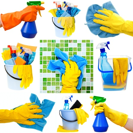 Collection of cleaning supplies on white background Archivio Fotografico
