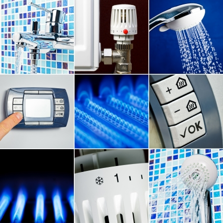 Home heating system collection set Stock Photo